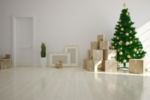 Christmas Interior moving house with cardboard boxes